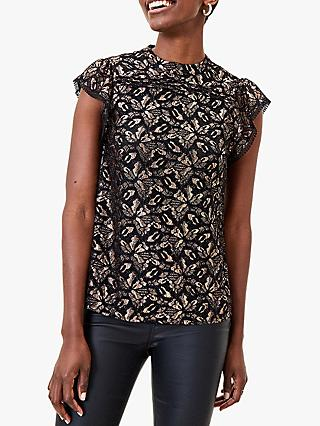 Oasis Sparkly Lace Shell Top, Gold