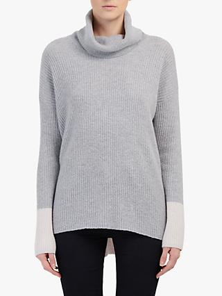 Cocoa Cashmere Funnel Neck Ribbed Jumper, Alabaster Grey/Silver