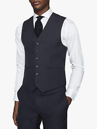 Reiss Enzo Mixer Tailored Wool Waistcoat, Navy