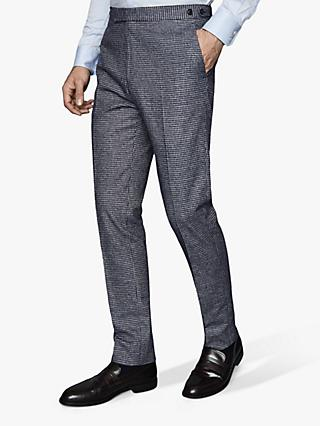 Reiss Leon Dogtooth Check Tailored Suit Trousers, Blue