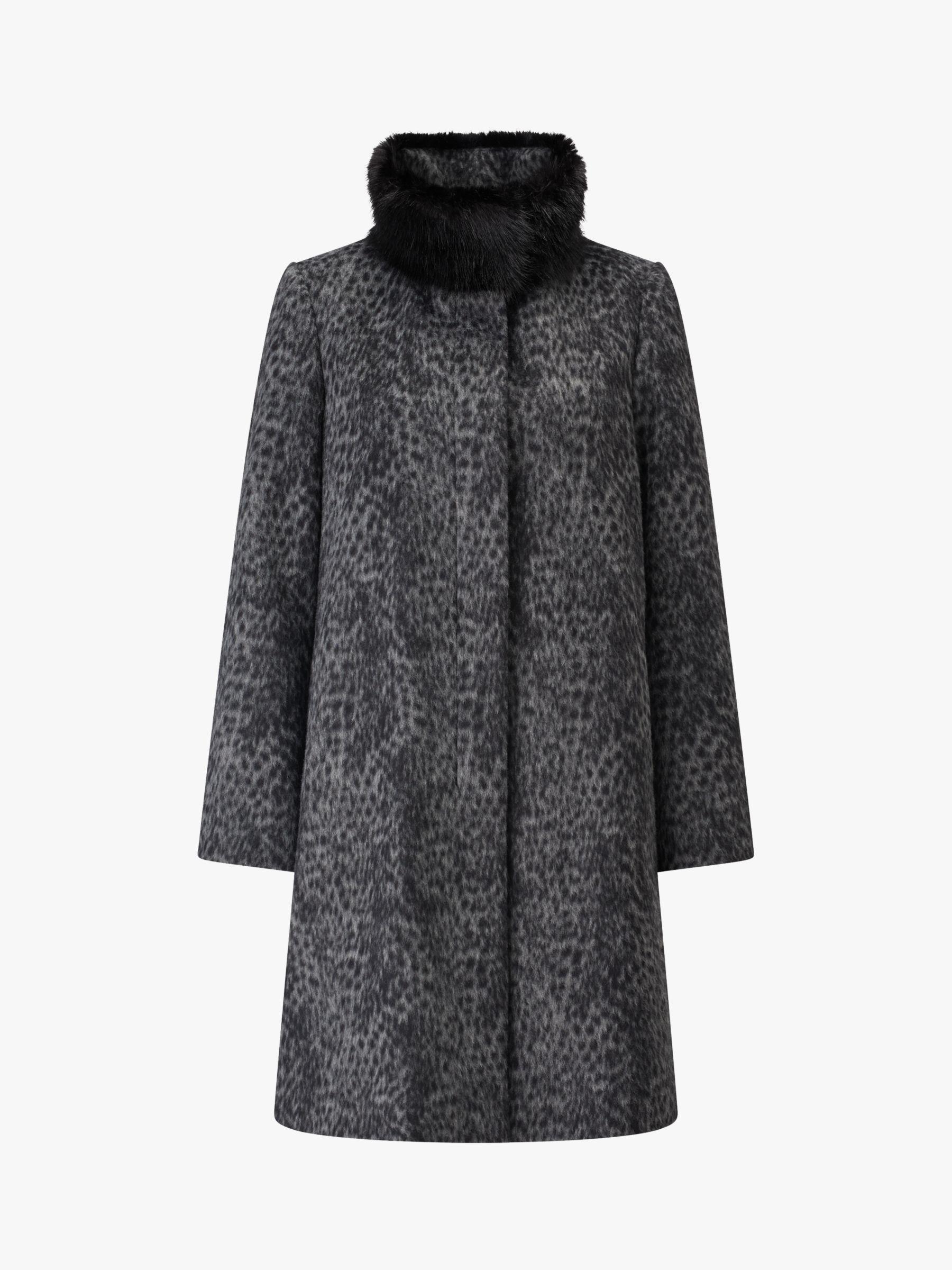 Four Seasons Four Seasons Leopard Print Fly Front Faux Fur Collar Coat, Grey