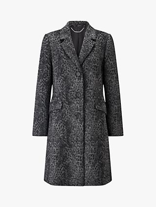Four Seasons Longline Leopard Print City Coat, Grey Print