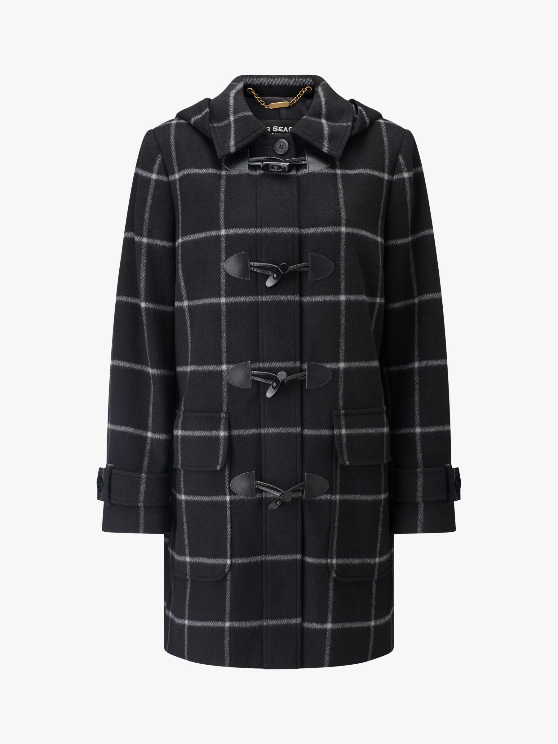 Four Seasons Four Seasons Check Duffle Coat, Black