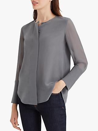 Club Monaco Wide Placket Silk Blouse, Grey Graphite