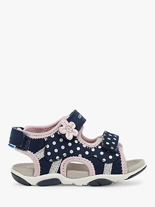 Geox Children's Agasim Pre-Walker Sandals, Navy/Pink