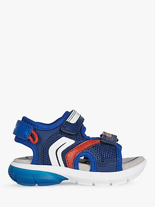 Geox Junior Flexyper Riptape Sandals, Navy/Red