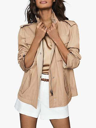 Reiss Nia Zipped Utility Jacket, Sand