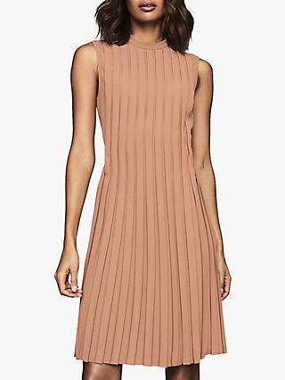 Reiss Linnea Pleated Mini Dress, PInk