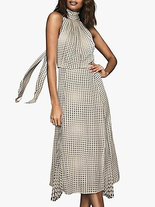 Reiss Jenna Geometric Spot Halterneck Midi Dress, Black/White