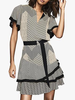 Reiss Hannah Zig Zag Print Tiered Dress, Black/Neutral