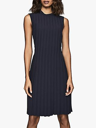 Reiss Linnea Pleated Shift Dress, Navy