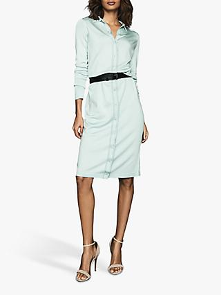 Reiss Lettie Button Shirt Dress, Pale Blue