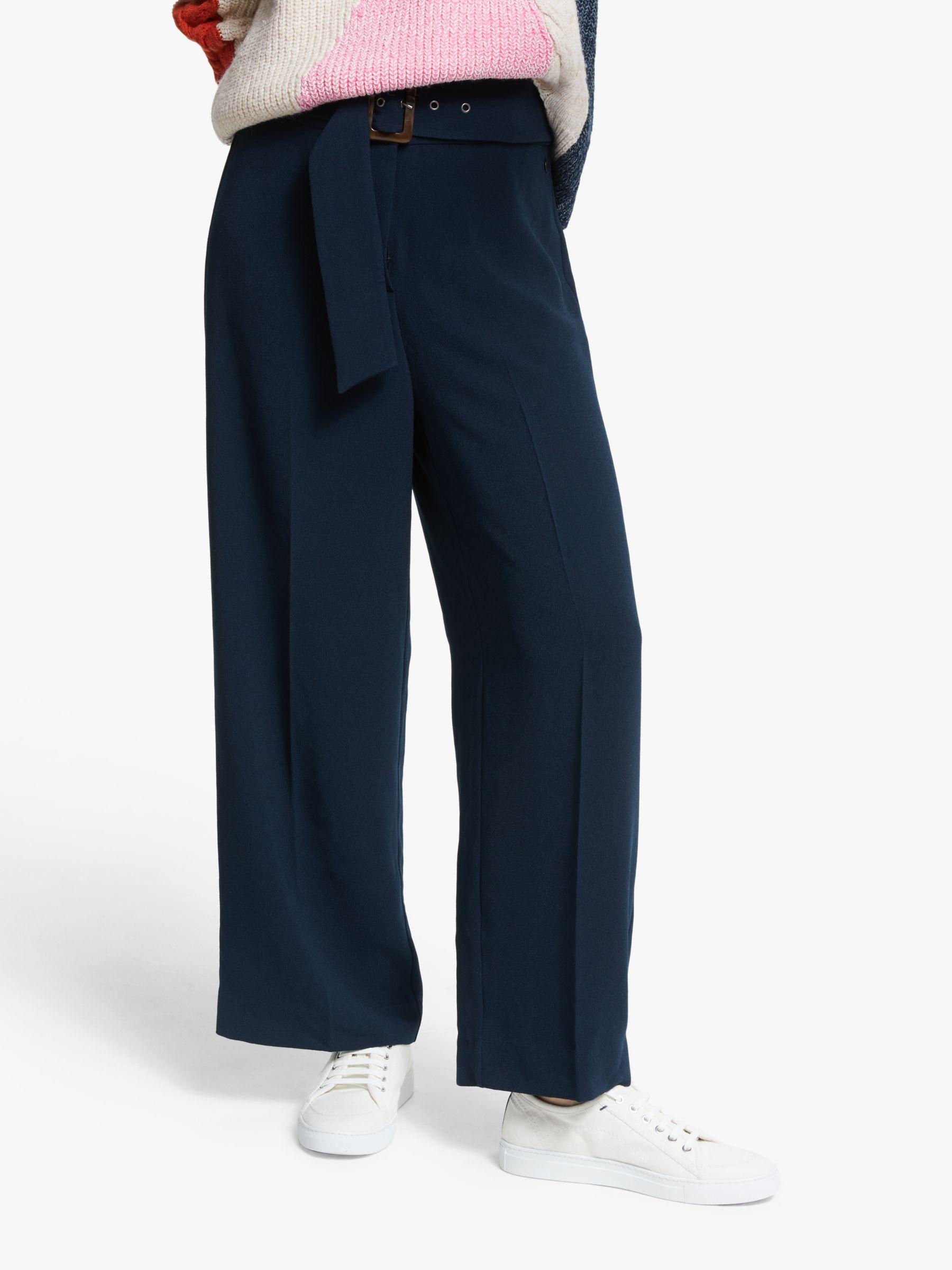 Numph Numph Adamina Wide Leg Trousers, Dark Sapphire