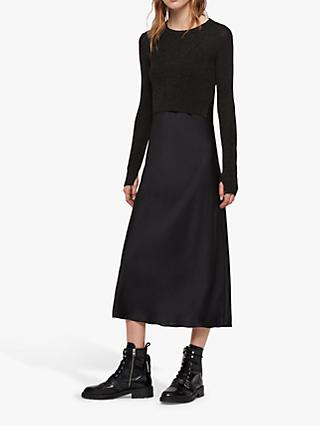 AllSaints Kowlo Shine Removable Jumper Dress, Black
