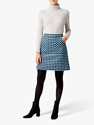 Hobbs Elodie Wool Skirt, Kingfisher Blue
