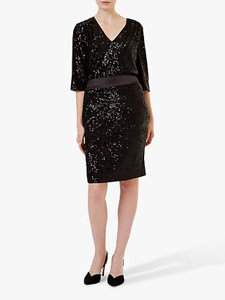 Hobbs Salma Sequin Skirt, Black