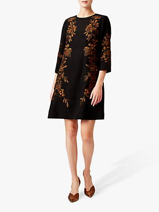 Hobbs Lynn Dress, Black/Orange