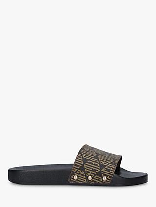Kurt Geiger London Meena Logo Print Leather Studded Sliders, Brown
