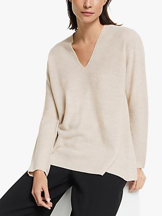 Modern Rarity Raglan Fine Links V Neck Jumper, Natural