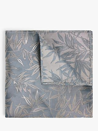 John Lewis & Partners Silk Palm Leaf Pocket Square, Gun Metal Blue