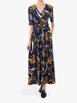 Jolie Moi Half Sleeve Wrap Front Maxi Dress, Floral Multi