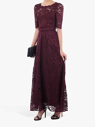 Jolie Moi Elbow Sleeve Lace Dress, Burgundy