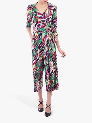 Jolie Moi Abstract Cross Over Tie Waist Jumpsuit, Green/Multi