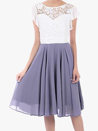 Jolie Moi Contrast Lace Skater Dress