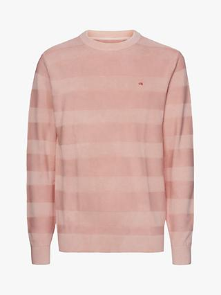 Calvin Klein Textured Striped Cotton Crew Neck Knit, Nude Lustre