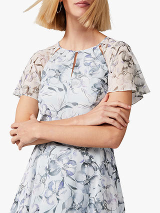 Buy Phase Eight Marlene Floral Flared Dress, Mineral, 6 Online at johnlewis.com