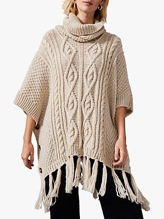 Phase Eight Carys Cable Knit Poncho, Oatmeal