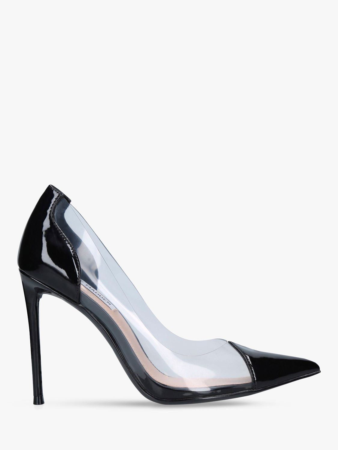 Steve Madden Steve Madden Malibu Transparent Stiletto Heel Court Shoes, Black