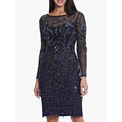 Product photo of Adrianna papell beaded cocktail dress midnight