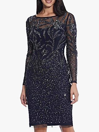 Adrianna Papell Beaded Cocktail Dress, Midnight