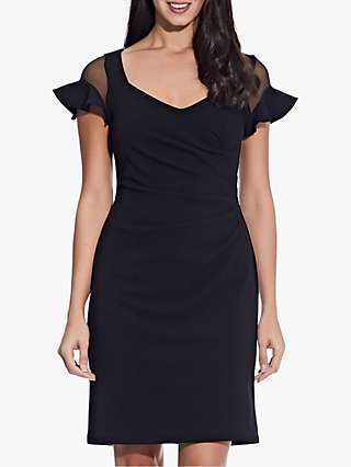 Adrianna Papell Semi Sheer Sleeve Dress, Black