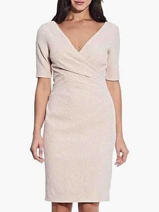 Adrianna Papell Draped Jacquard Dress, Ivory