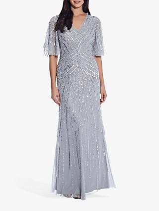 Adrianna Papell Flutter Beaded Gown Dress, Silvermist