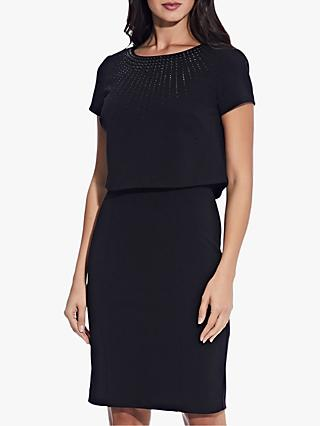 Adrianna Papell Layered Embellished Dress, Black