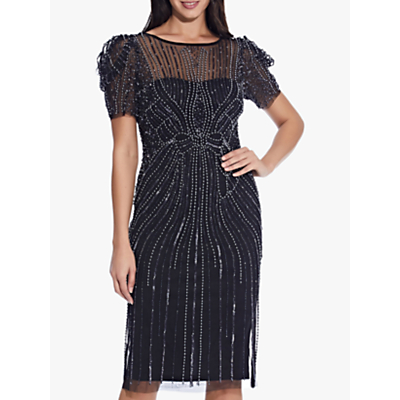 Product photo of Adrianna papell puffed shoulder short beaded dress black gunmetal