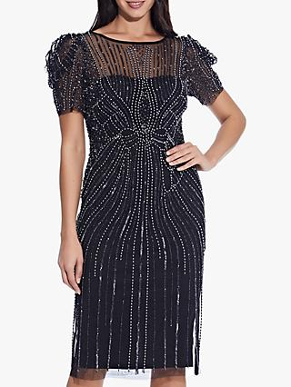Adrianna Papell Puffed Shoulder Short Beaded Dress, Black/Gunmetal