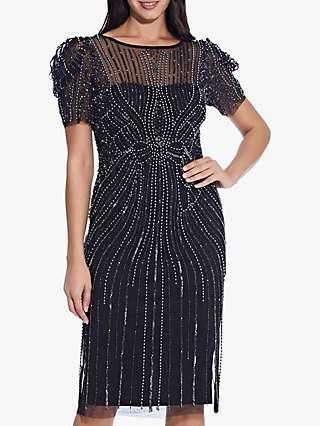 Adrianna Papell Puffed Shoulder Short Beaded Dress, Black/Gunmetal