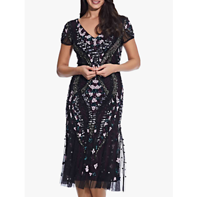 Product photo of Adrianna papell beaded flounce dress black purple