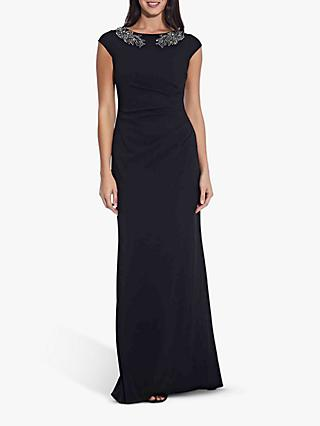 Adrianna Papell Crepe Bead Dress, Black