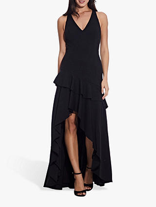 Buy Adrianna Papell Crepe Ruffle Gown, Black, 6 Online at johnlewis.com