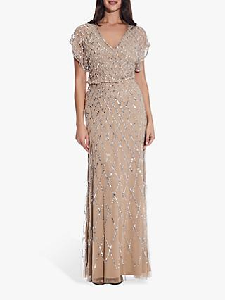 Adrianna Papell Blouson Beaded Maxi Dress, Champagne/Silver