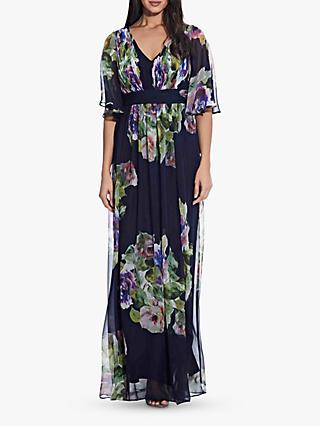 Adrianna Papell Chiffon Maxi Gown, Navy