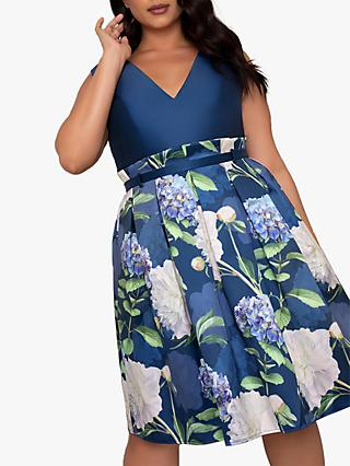 Chi Chi London Curve Ilona Dress, Blue/Multi