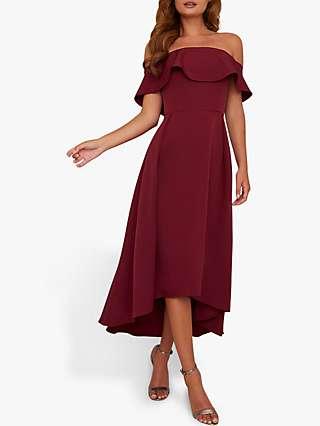Chi Chi London Elma Dress, Burgundy
