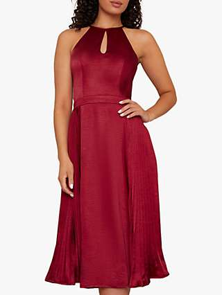 Chi Chi London Curve Amee Flared Dress, Burgundy