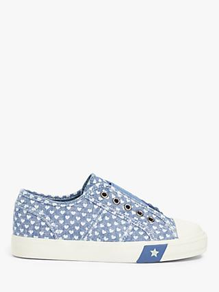 John Lewis & Partners Children's Heart Eyelet Slip On Shoes, Blue